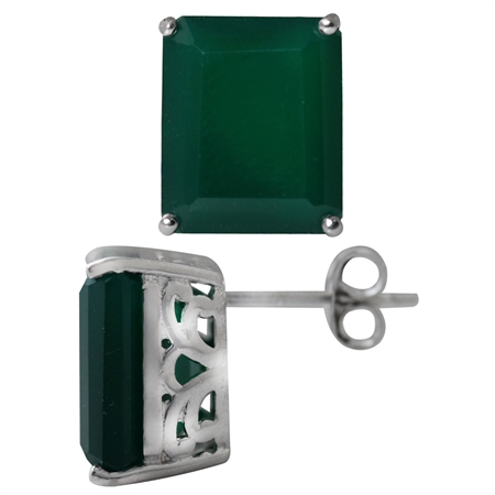 11.26ct. 12x10MM Natural Octagon Shape Emerald Green Agate 925 Sterling Silver Stud/Post Earrings