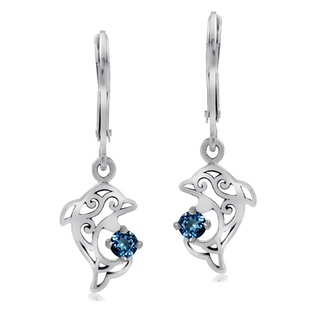 Genuine London Blue Topaz 925 Sterling Silver Dolphin Filigree Leverback Dangle Earrings