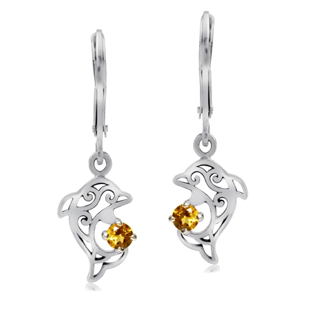 Natural Citrine 925 Sterling Silver Dolphin Filigree Leverback Earrings