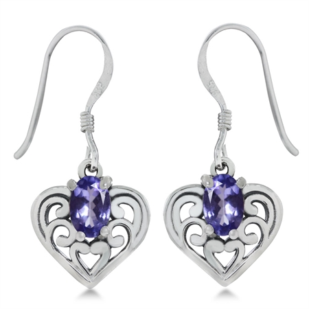 Genuine Tanzanite 925 Sterling Silver Southwest Style Filigree Heart Dangle Earrings