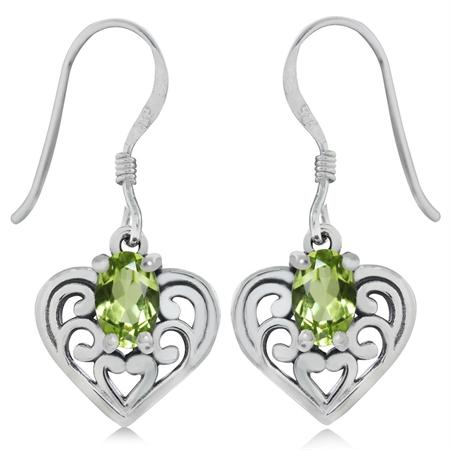 Natural Peridot 925 Sterling Silver Southwest Style Filigree Heart Dangle Hook Earrings