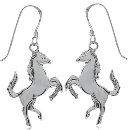 925 Sterling Silver HORSE Dangle Hook Earrings