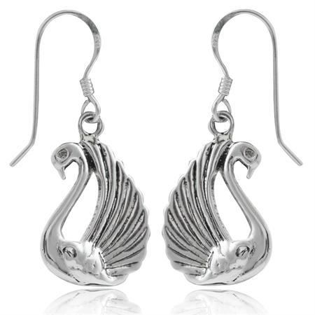 925 Sterling Silver SWAN Dangle Hook Earrings