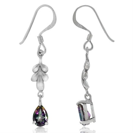Mystic Fire Topaz 925 Sterling Silver Leaf Drop Dangle Hook Earrings