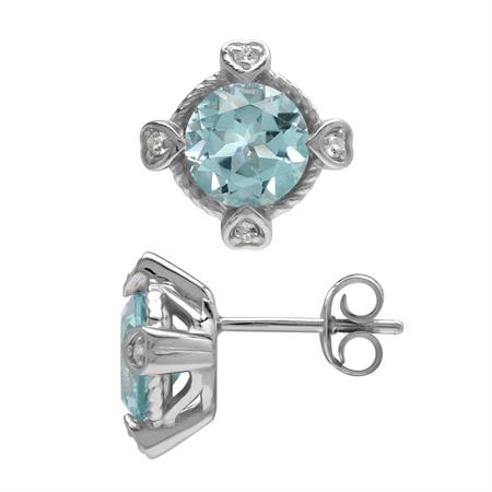 3.18ct. Genuine Blue & White Topaz 925 Sterling Silver Stud/Post Earrings