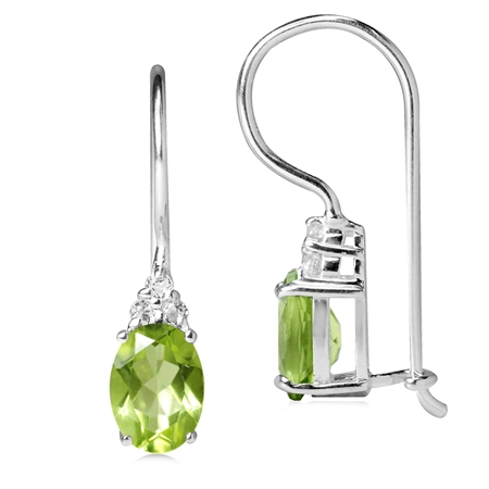 1.75ct. Natural Peridot & White Topaz 925 Sterling Silver Hook Closure Earrings