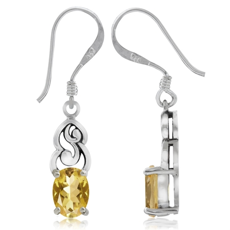 1.42ct. Natural Citrine 925 Sterling Silver Victorian Style Dangle Hook Earrings