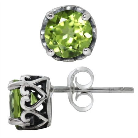 1.78ct. 6MM Natural Round Shape Peridot 925 Sterling Silver Victorian Style Stud/Post Earrings