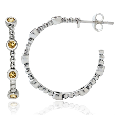Natural Citrine 925 Sterling Silver Ball Bead C-Hoop Earrings