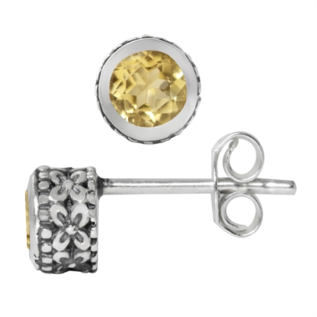 4MM Petite Natural Round Shape Citrine 925 Sterling Silver Flower Stud Earrings
