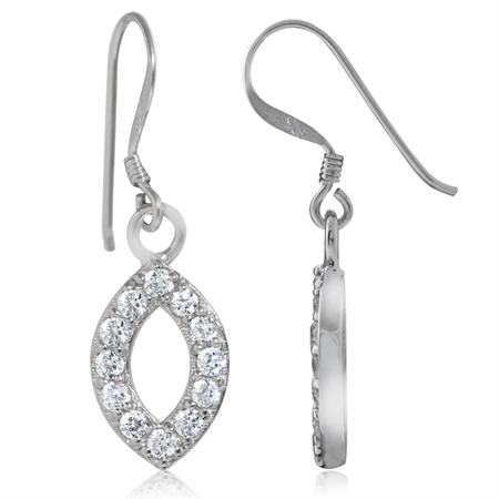 CZ White Gold Plated 925 Sterling Silver Drop Dangle Geometric Earrings