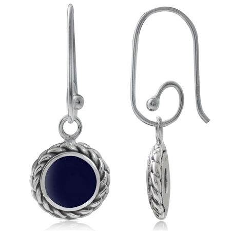 Created Lapis 925 Sterling Silver Rope Interchangeable Earrings