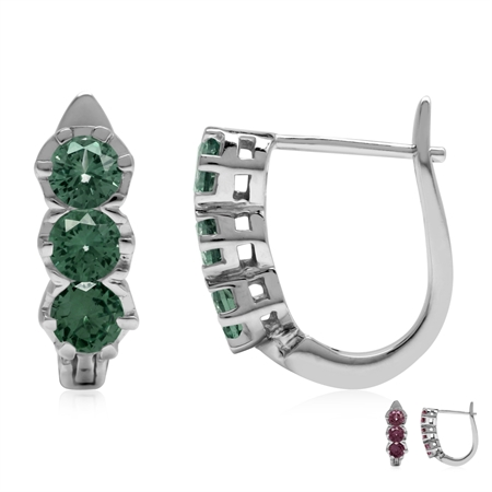 3-Stone Simulated Color Change Alexandrite 925 Sterling Silver English Huggie/Hoop Earrings