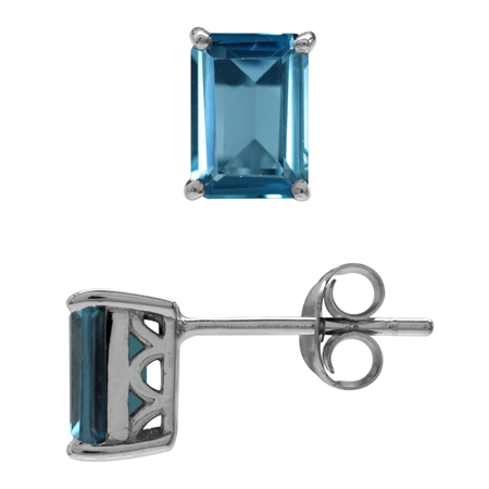 2.28ct. 7x5MM Genuine Octagon Shape London Blue Topaz 925 Sterling Silver Stud/Post Earrings