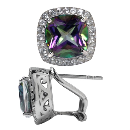 7.38ct. Mystic Fire Topaz White Gold Plated 925 Sterling Silver Omega Clip Earrings