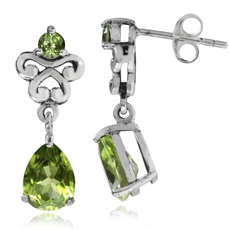 2.56ct. Natural Peridot 925 Sterling Silver Victorian Style Dangle Post Earrings