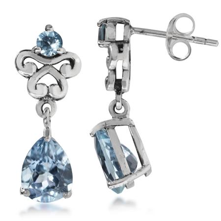 2.92ct. Genuine Blue Topaz 925 Sterling Silver Victorian Style Dangle Post Earrings