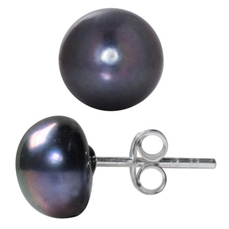 9MM Cultured Black Pearl 925 Sterling Silver Stud Earrings