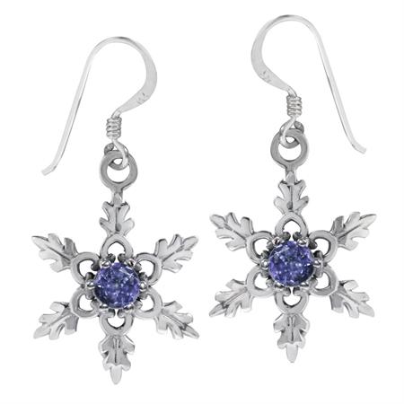 Genuine Tanzanite 925 Sterling Silver Snowflake Dangle Hook Earrings