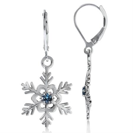 Genuine London Blue Topaz 925 Sterling Silver Snowflake Leverback Dangle Earrings