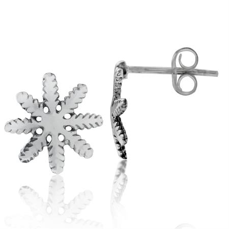 925 Sterling Silver Snowflake Stud/Post Earrings
