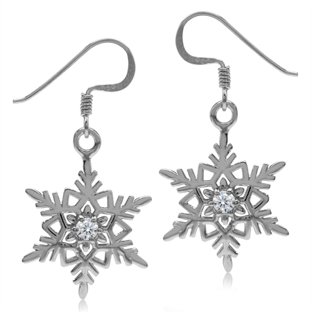 White CZ 925 Sterling Silver Snowflake Dangle Hook Earrings