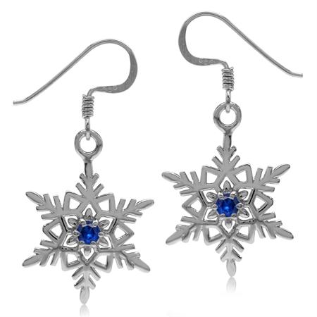 Sapphire Blue CZ 925 Sterling Silver Snowflake Dangle Hook Earrings