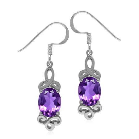 3.2ct. Natural African Amethyst 925 Sterling Silver Triquetra Celtic Knot Dangle Hook Earrings