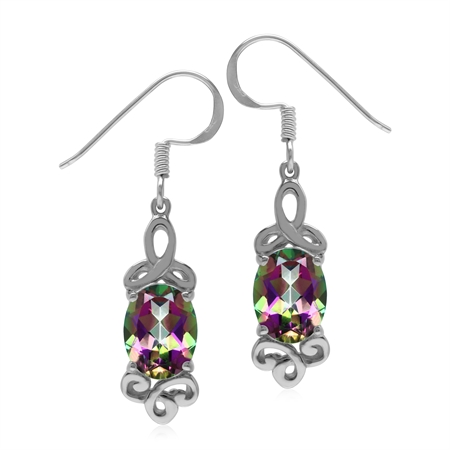 4.4ct. Mystic Fire Topaz 925 Sterling Silver Triquetra Celtic Knot Dangle Hook Earrings
