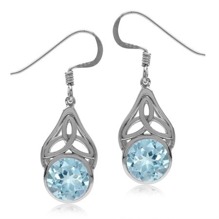 4.82ct. Genuine Blue Topaz 925 Sterling Silver Triquetra Celtic Knot Dangle Hook Earrings