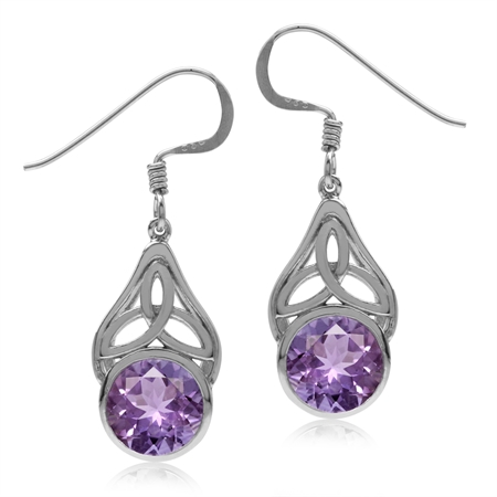 3.32ct. Natural Amethyst 925 Sterling Silver Triquetra Celtic Knot Dangle Hook Earrings