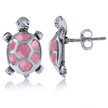 Pink Mother of Pearl 925 Sterling Silver TURTLE Post Earrings