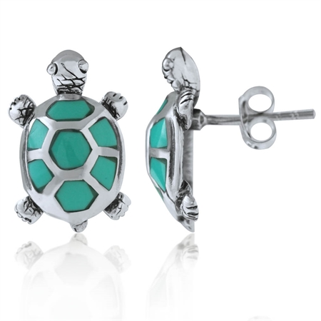 Created Green Turquoise 925 Sterling Silver TURTLE Post Earrings