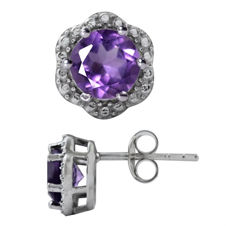 1.48ct. Natural Amethyst White Gold Plated 925 Sterling Silver Stud/Post Earrings