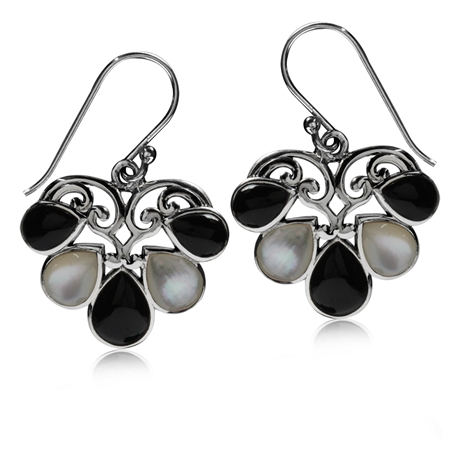 White Mother of Pearl & Created Black Onyx 925 Sterling Silver Heart Victorian Style Dangle Earrings