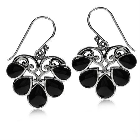 Created Black Onyx 925 Sterling Silver Heart Victorian Style Dangle Hook Earrings