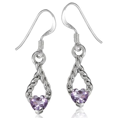 Natural Heart Shape Amethyst 925 Sterling Silver Rope Dangle Earrings