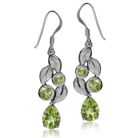 3.16ct. Natural Peridot 925 Sterling Silver Leaf Dangle Earrings