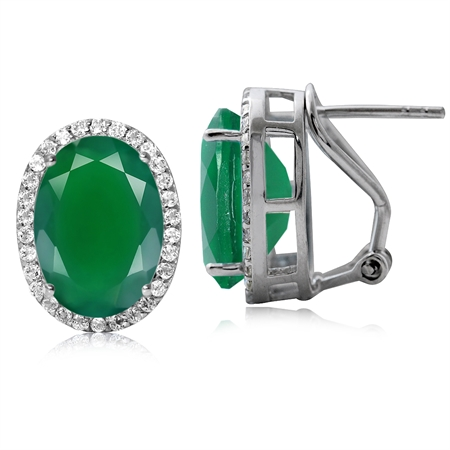 10.34ct. Classic Emerald Green Agate 925 Sterling Silver Omega Clip Post Earrings