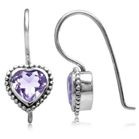 1.28ct. Natural Heart Shape Amethyst 925 Sterling Silver Bali/Balinese Style Hook Earrings
