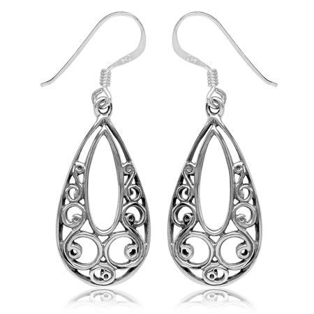 925 Sterling Silver Filigree Swirl & Spiral Drop Dangle Hook Earrings