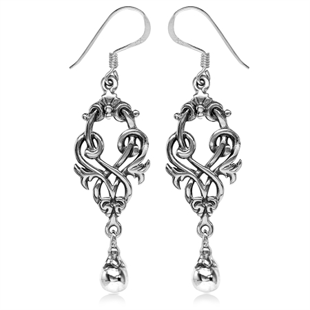 925 Sterling Silver Victorian Style Dangle Hook Earrings