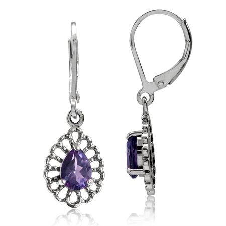 1.24ct. Natural Amethyst 925 Sterling Silver Filigree Drop Dangle Leverback Earrings