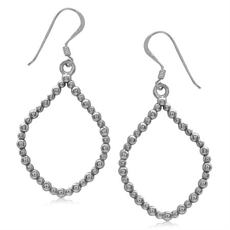 925 Sterling Silver Beaded Ball Pattern Drop Shape Dangle Earrings