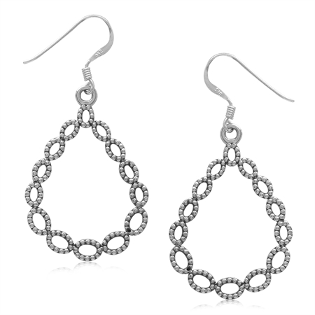 925 Sterling Silver Beaded Ball Pattern Drop Shape Dangle Earrings