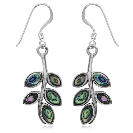 925 Sterling Silver Long Abalone/Paua Shell Inlay Hanging Leaves Dangle Earrings