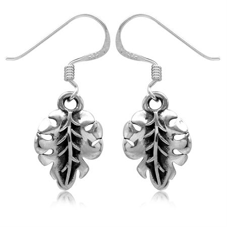 925 Sterling Silver Leaf Dangle Earrings