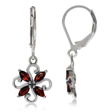 Natural Garnet 925 Sterling Silver Victorian Style Flower Leverback Dangle Earrings
