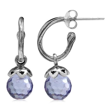 Lavender Faceted CZ Sphere Ball 925 Sterling Silver Dangle Drop Hoop Earrings