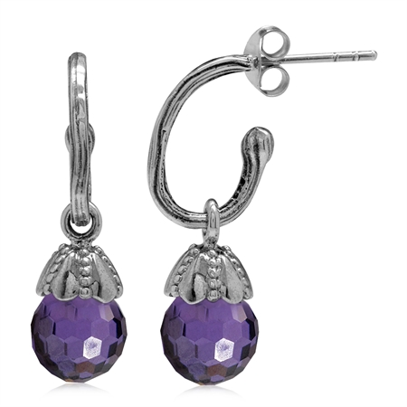 Amethyst Purple CZ Sphere Ball 925 Sterling Silver Dangle Drop Hoop Earrings
